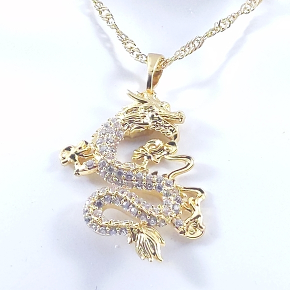 Gold Dragon Necklace  Gold Filled Dragon Necklace  Dragon Necklace  Gold Necklace  Layering Necklace  Gold Lucky Dragon Necklace